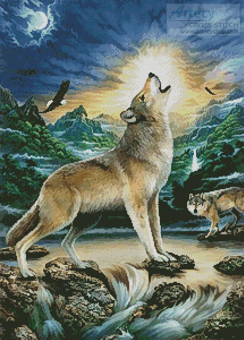 Howling Wolf - Cross Stitch Chart