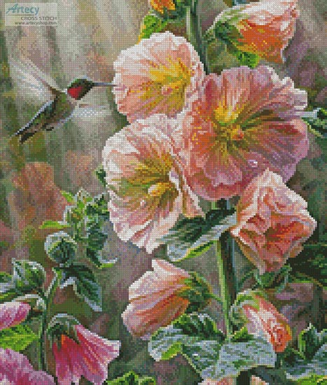 Ruby Throated Hummingbird & Hollyhocks (Crop) - Cross Stitch