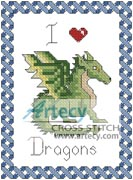 I Love Dragons - Cross Stitch Chart