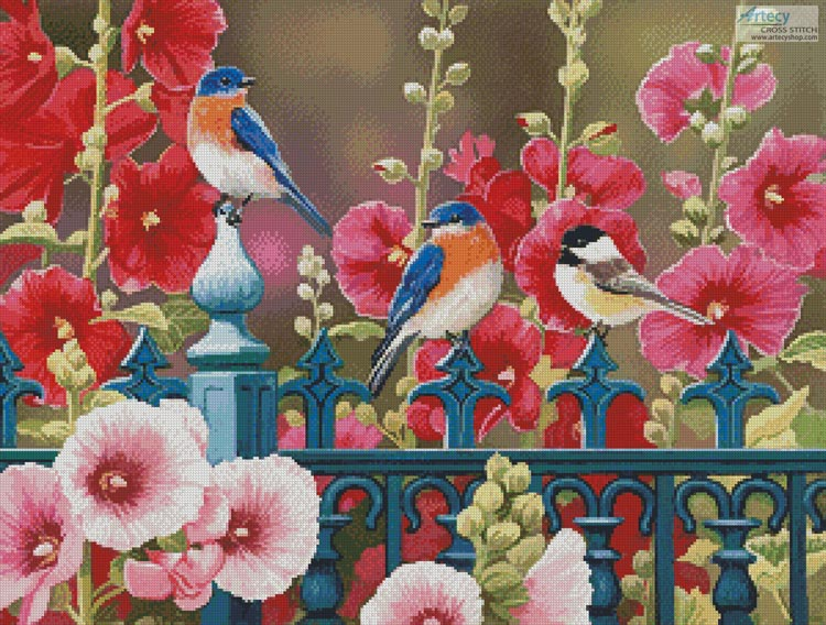 Iron Fence with Hollyhocks - Cross Stitch Chart