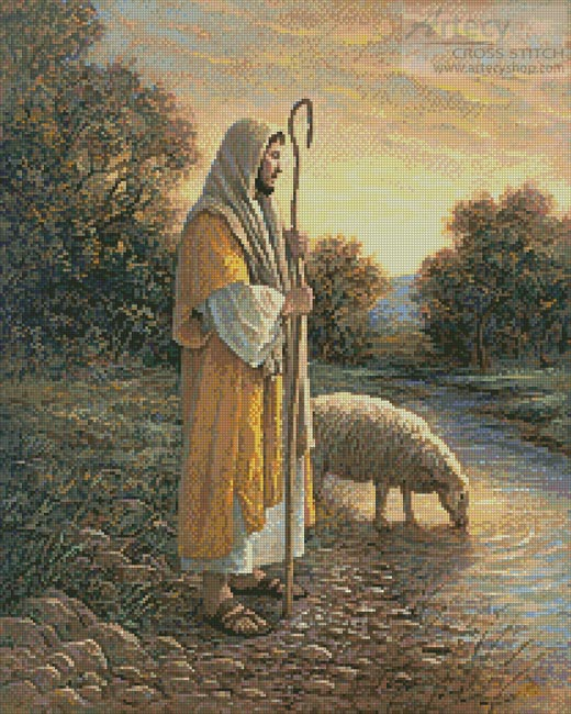 Jesus and Sheep - Cross Stitch Chart
