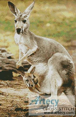 Kangaroo and Joey 2 - Cross Stitch Chart