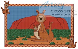 Kangaroo Teddy Border 2 - Cross Stitch Chart