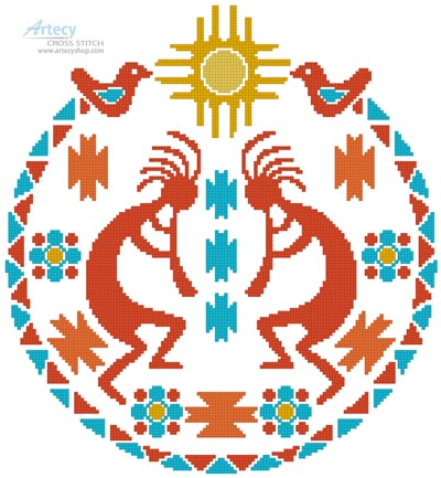 Kokopelli Circle - Cross Stitch Chart