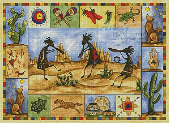 Kokopelli Sampler - Cross Stitch Chart