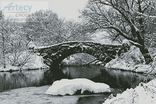 Lake and Bridge in Winter - Cross Stitch Chart