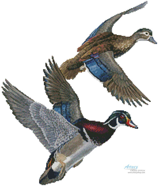 Lakeside Wood Ducks (No Background) - Cross Stitch Chart
