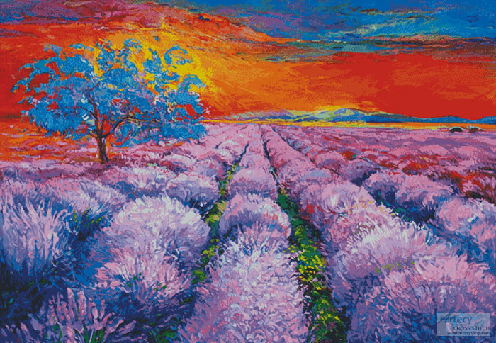 Lavender Field at Sunset (Large) - Cross Stitch Chart