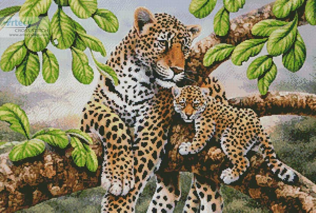 Leopard and Cub - Cross Stitch Chart