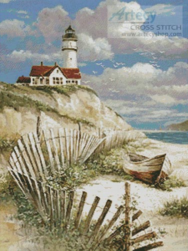Lighthouse with deserted Canoe - Cross Stitch Chart