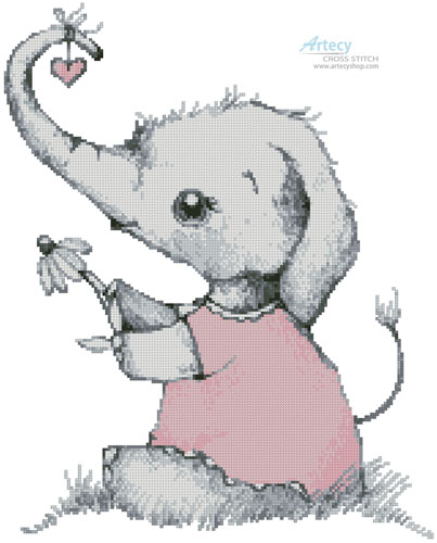 Little Girl Daisy Elephant - Cross Stitch Chart