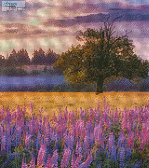 Lupine Sunrise (Crop) - Cross Stitch Chart