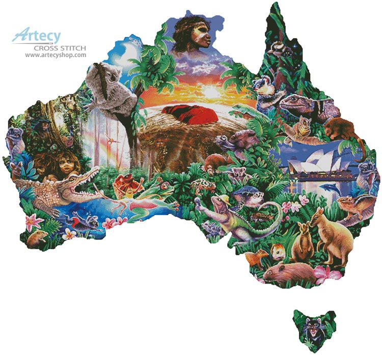 Map of Australia (Large) - Cross Stitch Chart