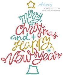 Merry Christmas and Happy New Year - Cross Stitch Chart
