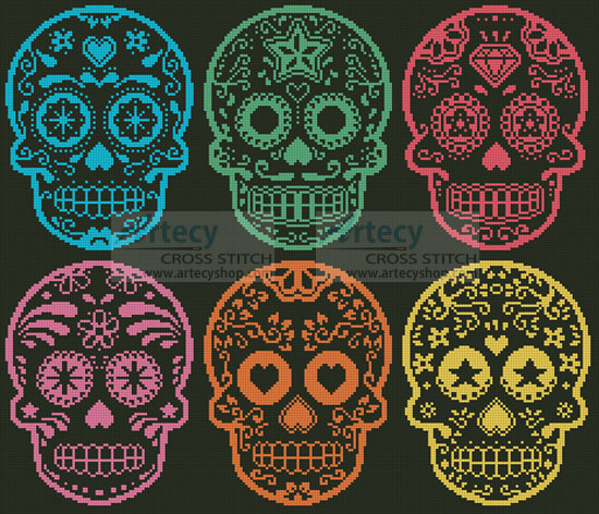 Mexican Sugar Skulls - Cross Stitch Chart