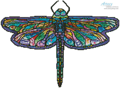 Mini Abstract Dragonfly (No Background) - Cross Stitch Chart
