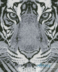 Mini Bengal Tiger Black and White - Cross Stitch Chart