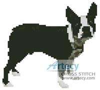 Mini Boston Terrier - Cross Stitch Chart