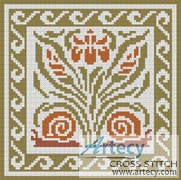 Mini Flowers & Snails Pattern - Cross Stitch Chart