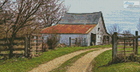 Mini Rustic Barn (Left) - Cross Stitch Chart