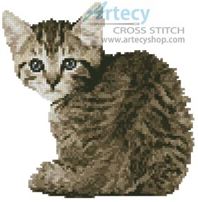 Mini Timid Kitten - Cross Stitch Chart
