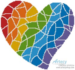 Mosaic Rainbow Heart - (Facebook Group) Cross Stitch Chart