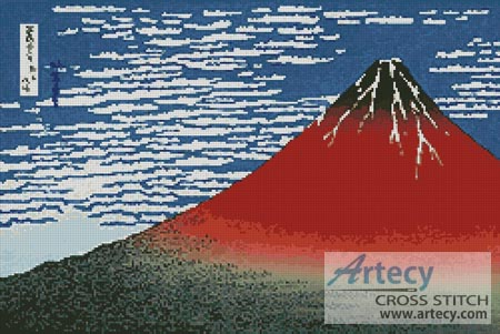 Mount Fuji in Clear Weather - Cross Stitch Chart