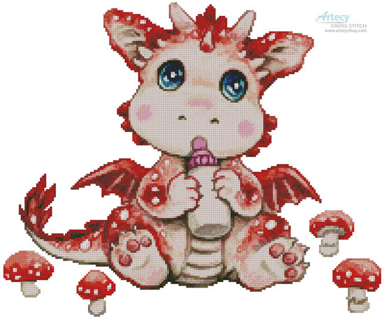 Mushroom Dragon Baby - Cross Stitch Chart