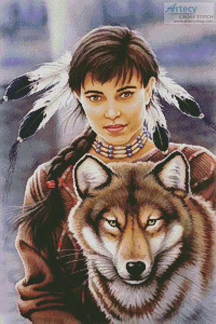 Native American Maiden and Wolf - Cross Stitch Chart