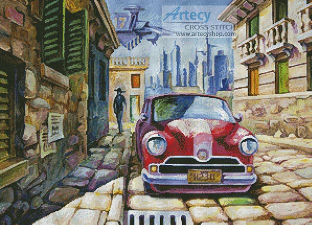 Old Red Car in a Sunny Street - Cross Stitch Chart