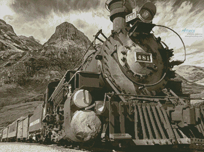 Old Train (Sepia) - Cross Stitch Chart