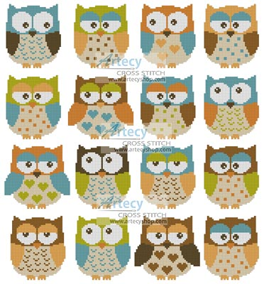 Owls 2 - Cross Stitch Chart