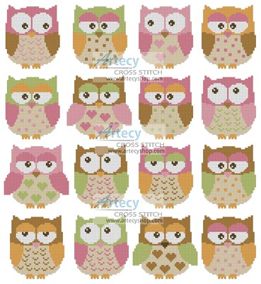 Owls - Cross Stitch Chart