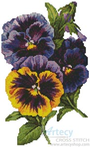 Pansies 4 - Cross Stitch Chart