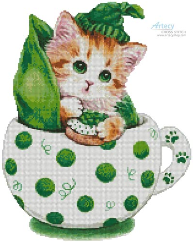 Peapod Kitty Cup - Cross Stitch Chart