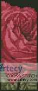 Pink Rose Bookmark 2 - Cross Stitch Chart
