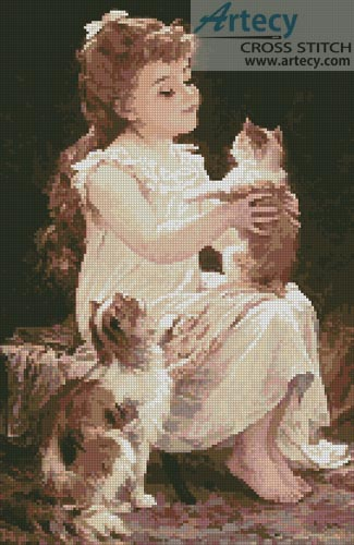 Playing with the Kitten - Cross Stitch Chart