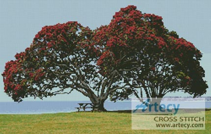 Pohutukawa Trees - Cross Stitch Chart
