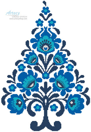 Polish Folk Art Christmas Tree Blue - Cross Stitch Chart