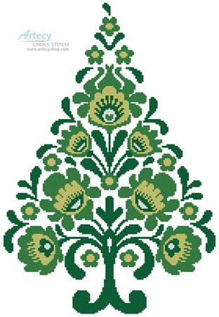 Polish Folk Art Christmas Tree Green - Cross Stitch Chart