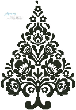Polish Folk Art Christmas Tree Silhouette - Cross Stitch Chart