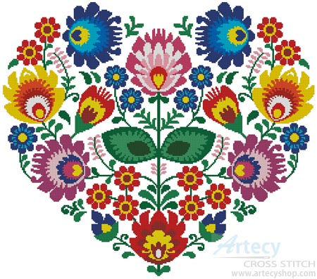 Polish Folk Heart - Cross Stitch Chart