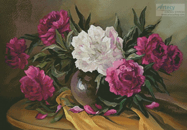 Purple Peonies - Cross Stitch Chart
