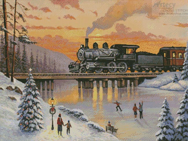 Railroad on the Ice Bridge - Cross Stitch Chart