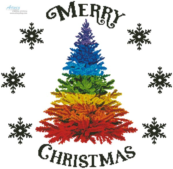 Rainbow Christmas Tree - Cross Stitch Chart