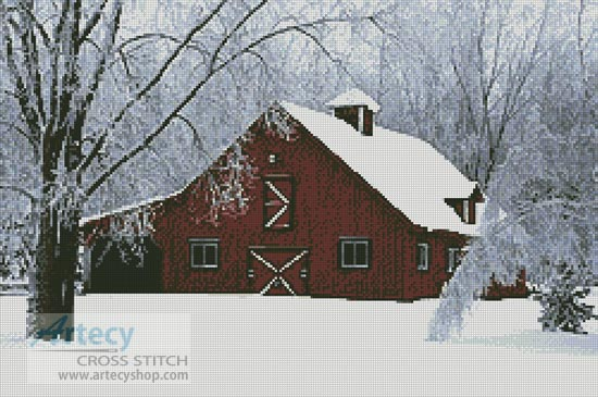 Red Barn in Snow - Cross Stitch Chart