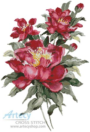 Red Peonies - Cross Stitch Chart
