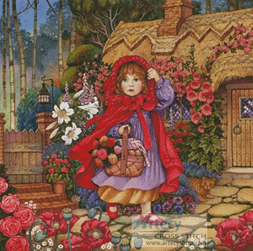 Red Riding Hood Painting - Cross Stitch Chart