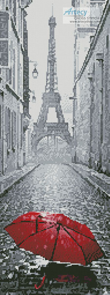 Red Umbrella in Paris (Crop) - Cross Stitch Chart