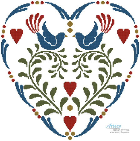 Rosemaling Heart 1 - Cross Stitch Chart